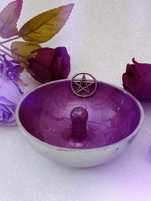 Pentacle Aluminium Incense Holder - Plum Purple