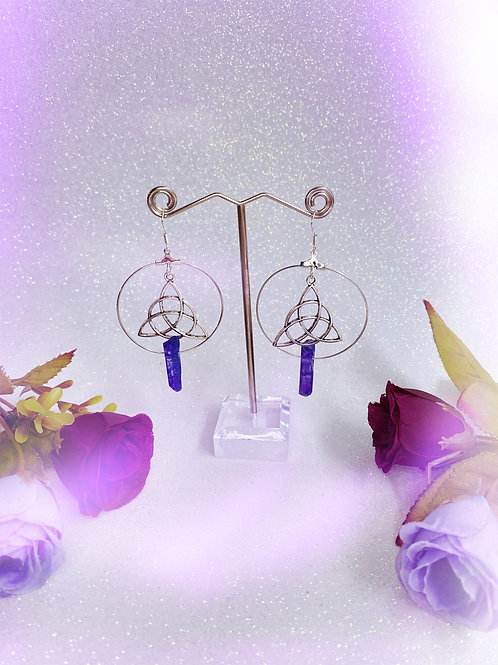 Triquetra Crystal Hoop Earrings - Purple