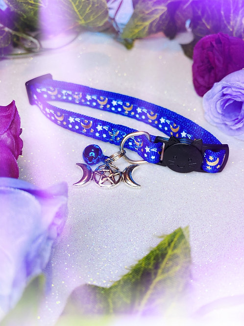 Triple Goddess Witches Familiar Collar-Blue