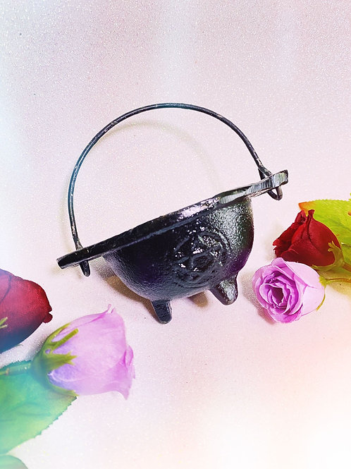 Black Cast Iron Pentacle Cauldron - No Lid