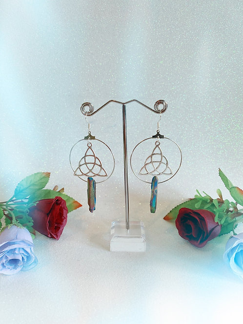 Triquetra Crystal Hoop Earrings - Rainbow Titanium Quartz