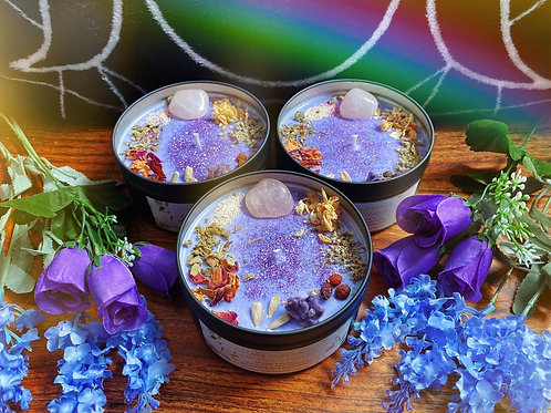Ostara Blessings Crystal Candle