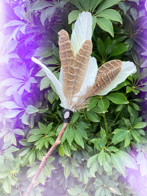Feather Fan with Rose Quartz Crystal