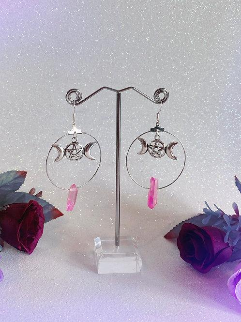 Triple Goddess Crystal Hoop Earrings - Pink