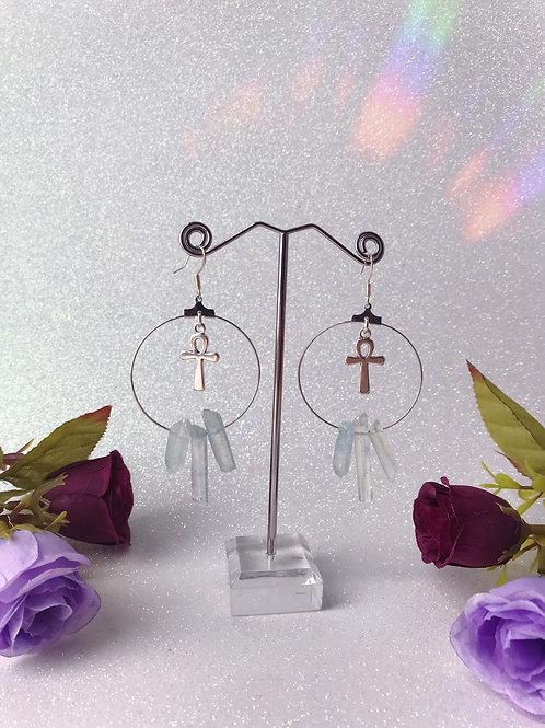 Ankh Crystal Hoop Earrings - Pale Blue