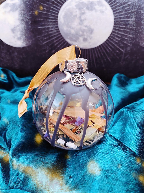 Triple Moon Home Blessing Bauble - Gold Ribbon