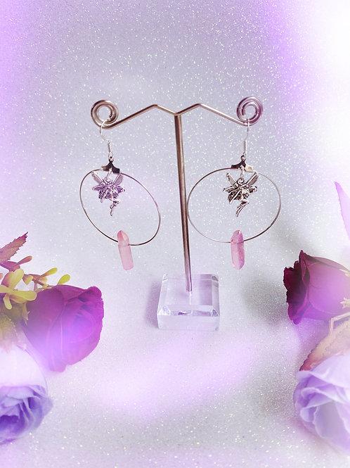 Faery Crystal Hoop Earrings - Pink