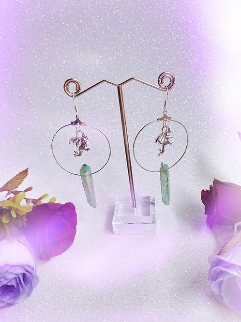 3D Dragon Crystal Hoop Earrings - Green