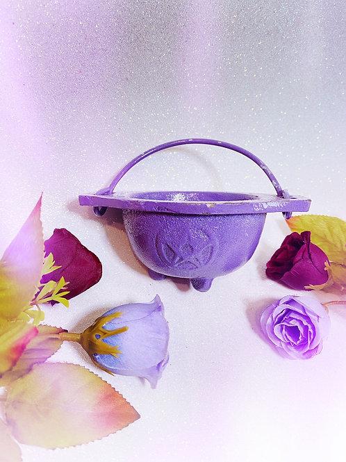 Lavender Cast Iron Pentacle Cauldron - No Lid