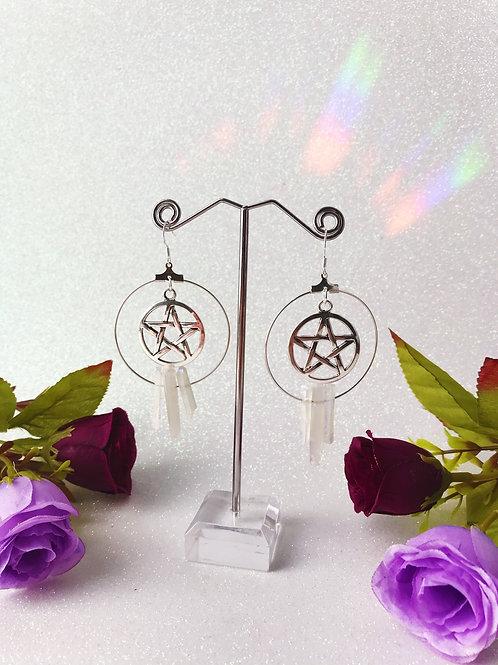 Pentacle Crystal Hoop Earrings - Clear