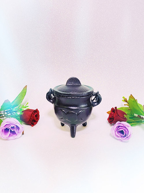 Small Cast Iron Triple Moon Cauldron