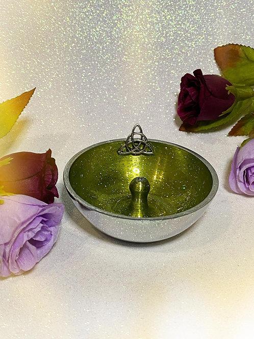 Triquetra Aluminium Incense Holder - Lemon Green Glitter