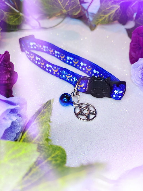 Pentacle Witches Familiar Collar- Blue