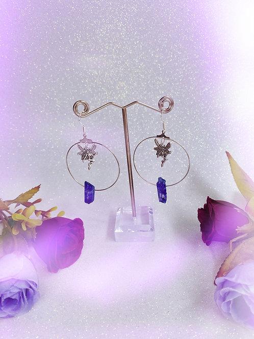 Faery Crystal Hoop Earrings - Purple