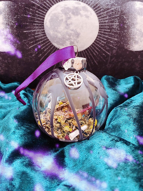 Pentacle Home Blessing Bauble - Purple Ribbon