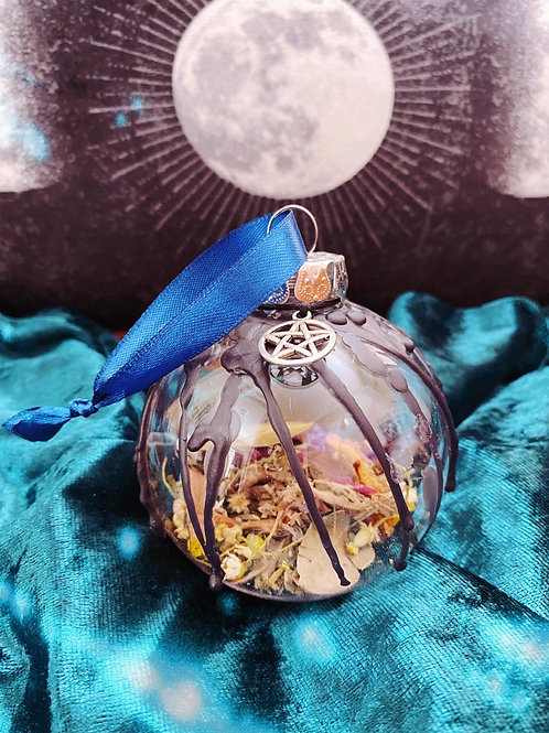 Pentacle Home Blessing Bauble - Blue Ribbon