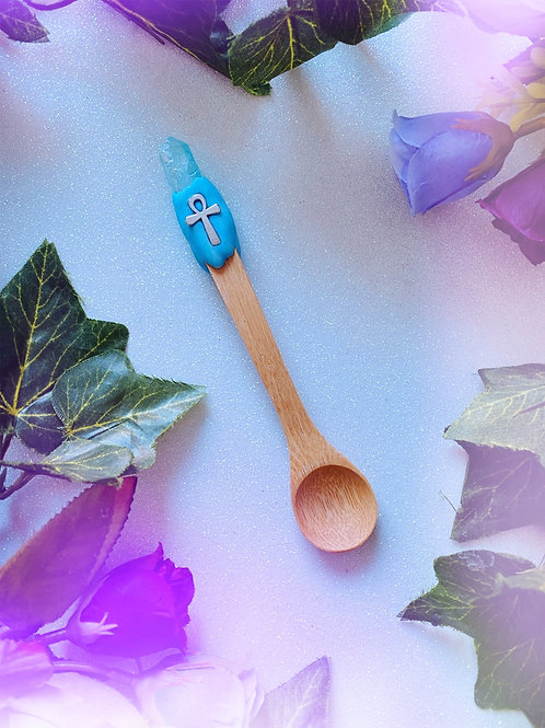 Bewitching Spoon with Blue Aura Quartz and Ankh