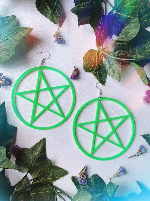 Large Pentagram Earrings-Green