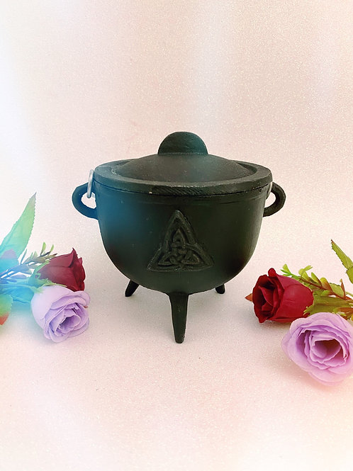Large Cast Iron Triquetra Cauldron