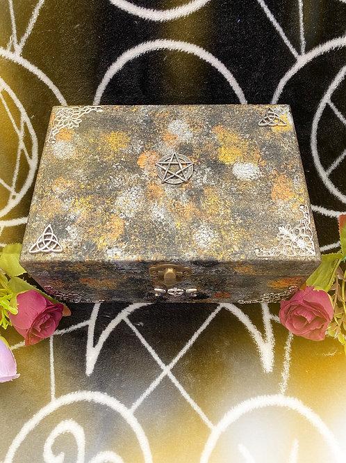 Black & Metallic Pentacle Altar Box