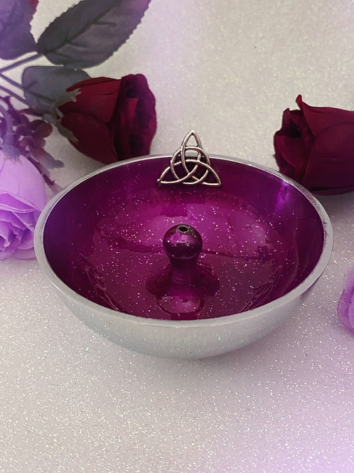 Triquetra Aluminium Incense Holder - Glitter Purple