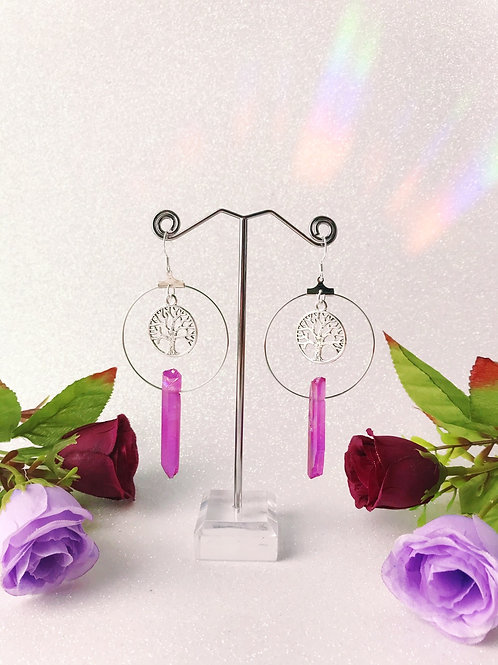 Tree of Life Crystal Hoop Earrings - Pink/Purple