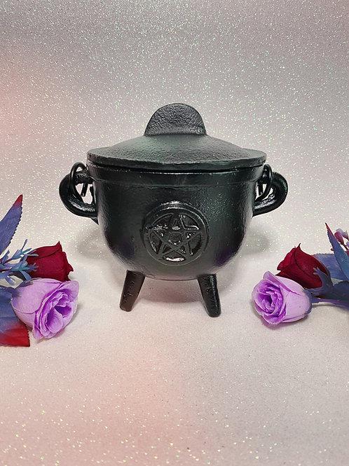 Large Cast Iron Pentacle Cauldron