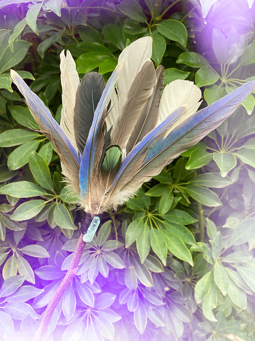 Feather Fan with Titanium Quartz Crystal