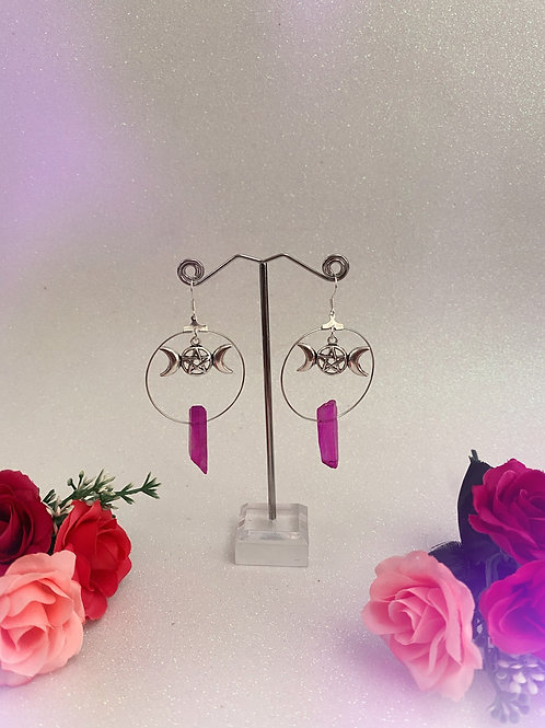 Triple Goddess Crystal Hoop Earrings - Purple/Pink