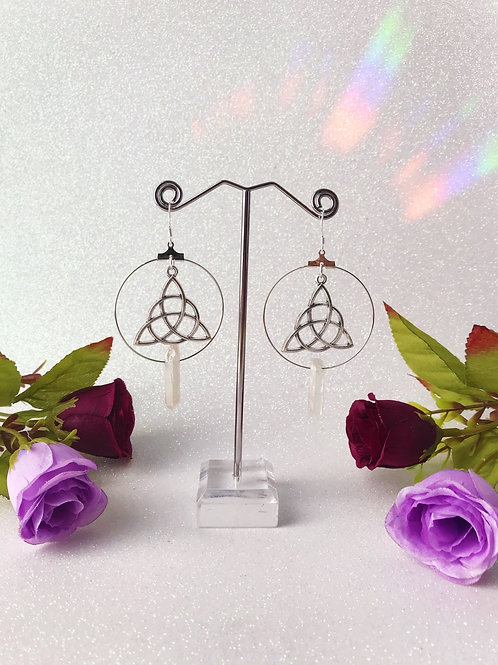 Triquetra Crystal Hoop Earrings - Clear