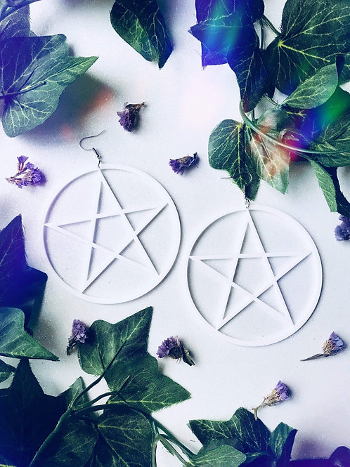 Large Pentagram Earrings-White