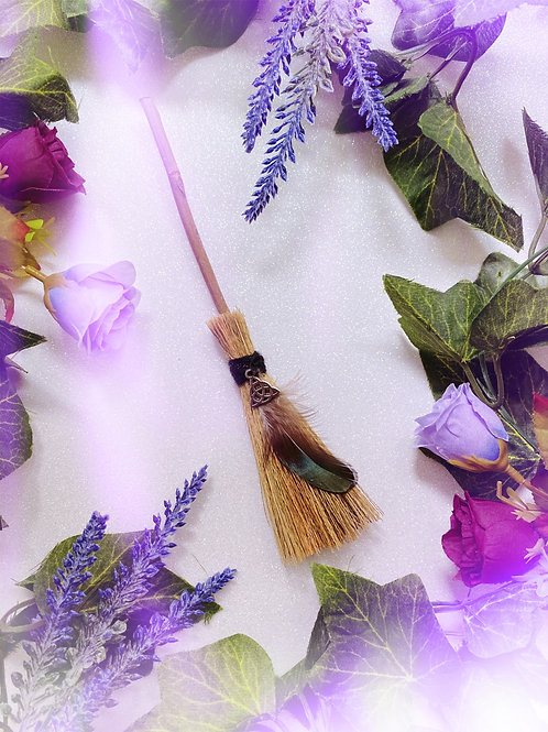 Mini Besom Broom with Mini Triquetra Charm