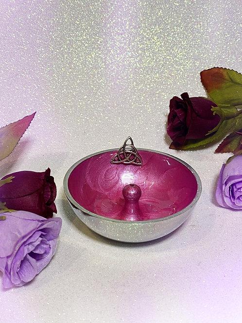Triquetra Aluminium Incense Holder - Pink