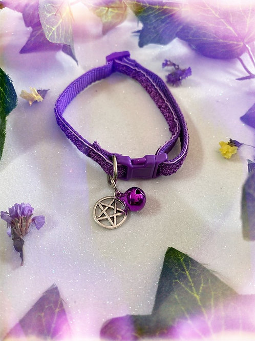 Pentacle Witches Familiar Collar-Purple