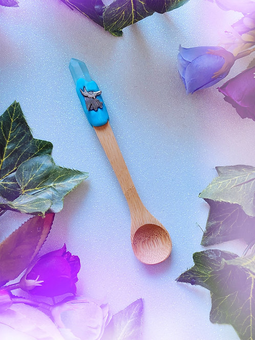 Bewitching Spoon with Blue Aura Quartz and Anubis
