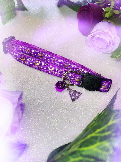 Triquetra Witches Familiar Collar- Purple