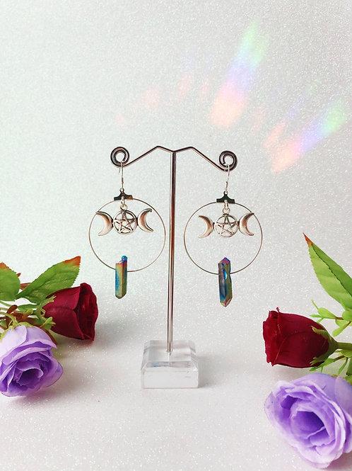 Triple Goddess Crystal Hoop Earrings - Rainbow