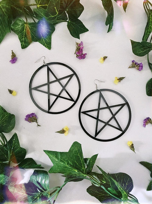 Large Pentagram Earrings-Black