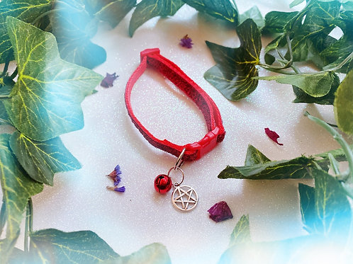 Pentacle Witches Familiar Collar- Red