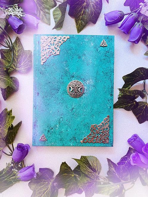 Triquetra Witch Goddess Book of Shadows - Aqua