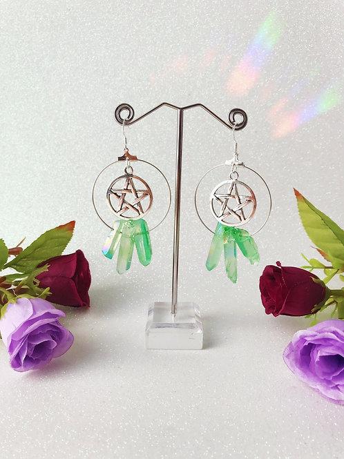 Pentacle Crystal Hoop Earrings - Green