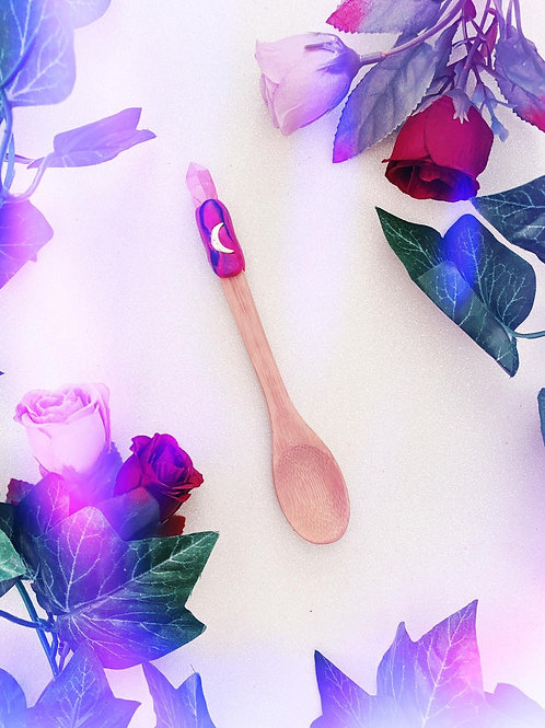 Bewitching Spoon with Pink Aura Quartz and Moon