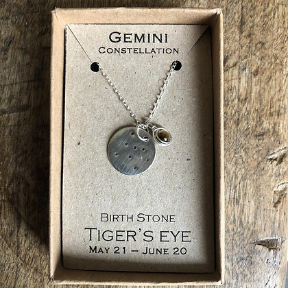 Gemini Tigers Eye Constellation Zodiac Necklace Sterling Silver NB