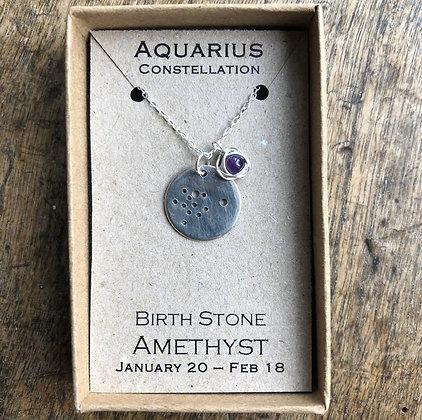 Aquarius Amethyst Constellation Zodiac Necklace Sterling Silver NB
