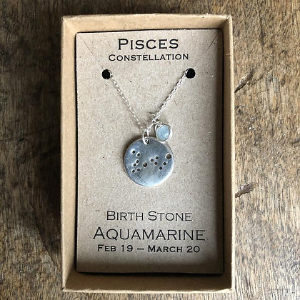 Pisces Aquamarine Constellation Zodiac Necklace Sterling Silver NBP