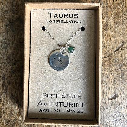 Taurus Aventurine Constellation Zodiac Necklace Sterling Silver NB