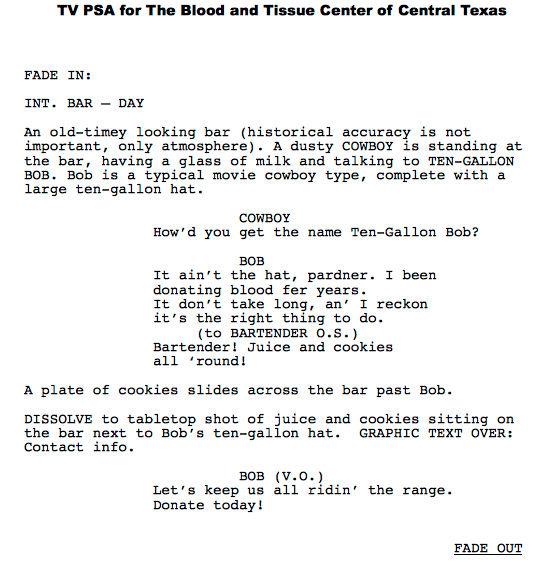 Script writing sample