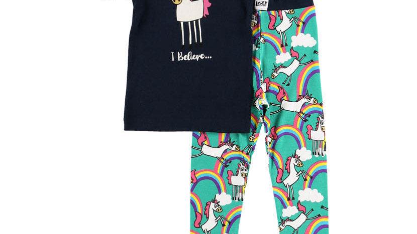 LazyOne Girls I Believe In Unicorn Pj Set