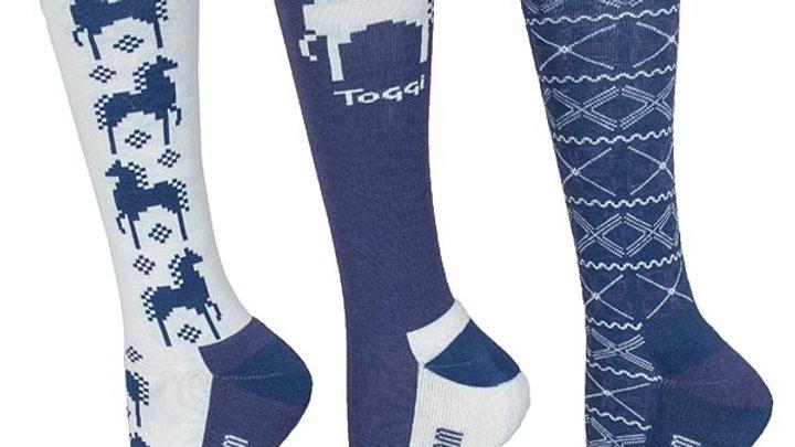 Toggi Heysham Fairisle Horse Socks - 3 Pack