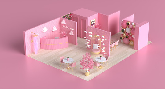 Interior Salon Design for Goal Digger Beauty in The Hague, Netherlands by 2xr Design Ricky Rocha Loures Henrique Saldanha 3D rendering